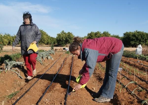 Dos usuarias de uno de los huertos familiares de Agrolife