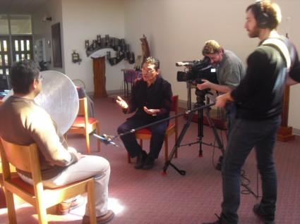 Un momento de la grabación del documental.