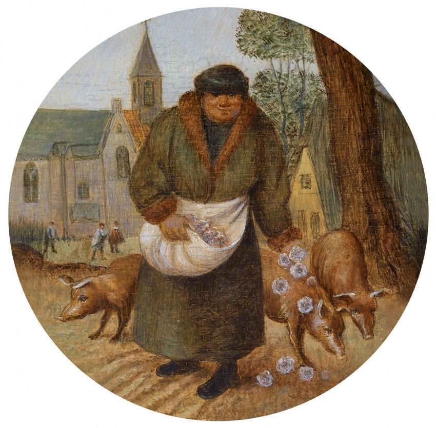 Pieter Brueghel. Un rico echa flores a los cerdos.