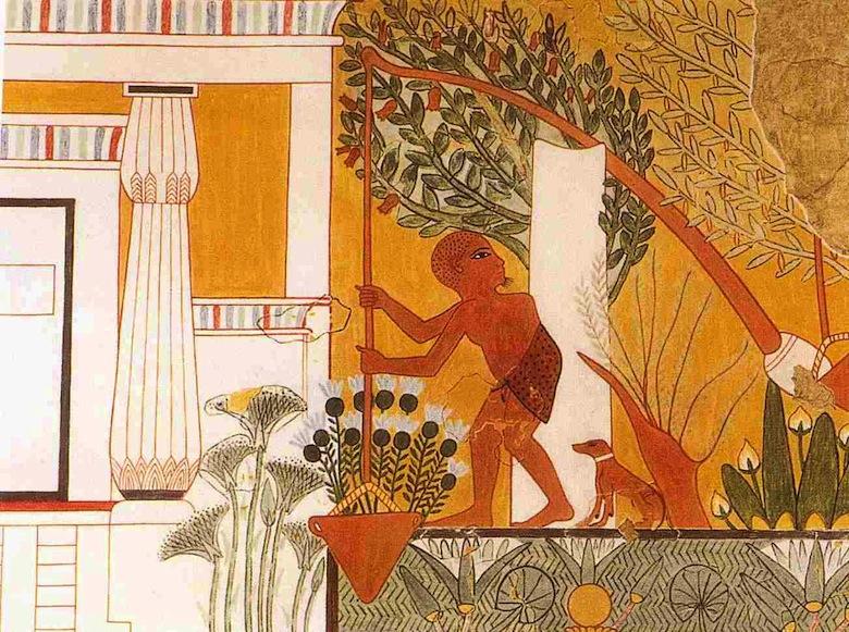 Cigoñal Deir-el-Medina, antiguo Egipto.