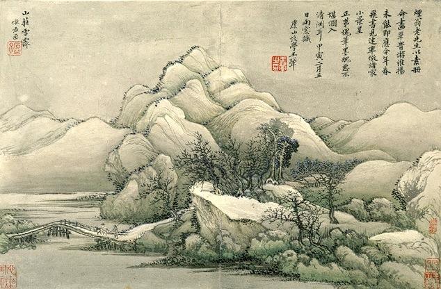 Acuarela tradicional de paisaje chino