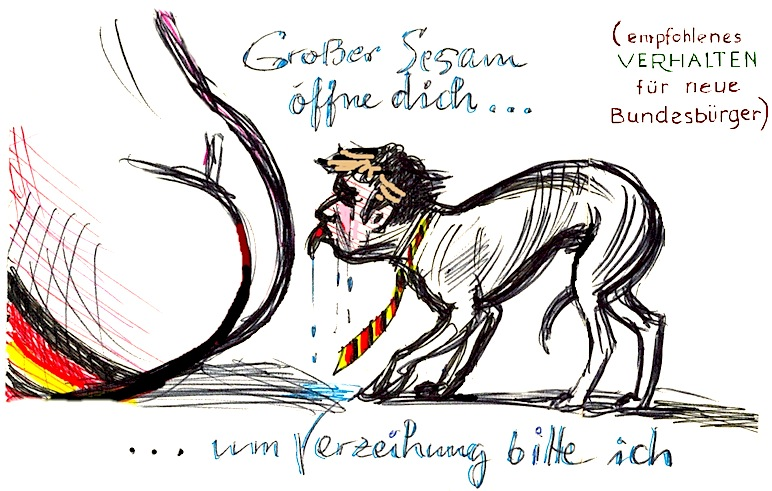 Los Ossies (ex-ciudadanos de la RDA) que quieren limpiar su pecado comunista,  han de lamer las nalgas a la RFA que tanto les quierer.