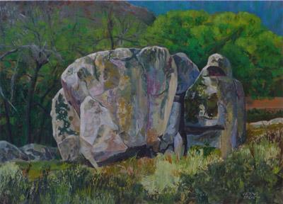 Una piedra en Bustarviejo, Madrid.  Oleo sobre papel.