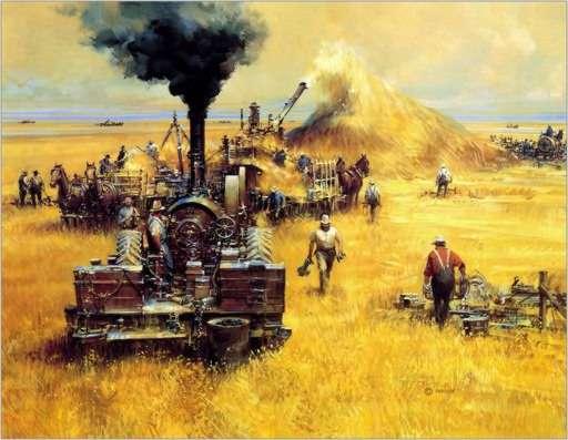 La industrialización de la agricultura. Ilustración tomada de la página http://desarrollosustentable2011.blogspot.com.es/2011/02/impacto-de-la-agricultura-y-la.html