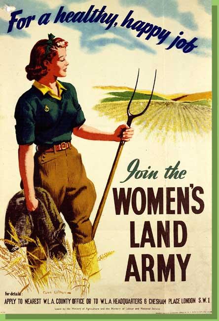 Cartel propagandístico de la Primera Guerra Mundial. tomado de la página Women's Land Army