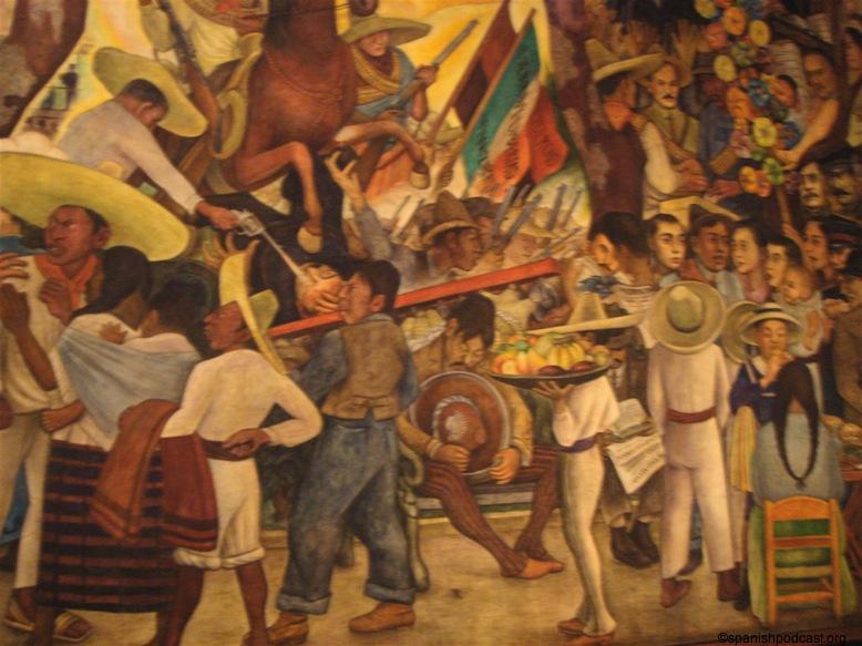 Parte de un mural de David Alfaro Siqueiros