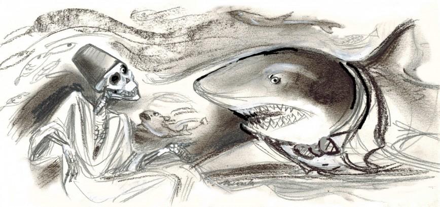 ahogado y tiburón