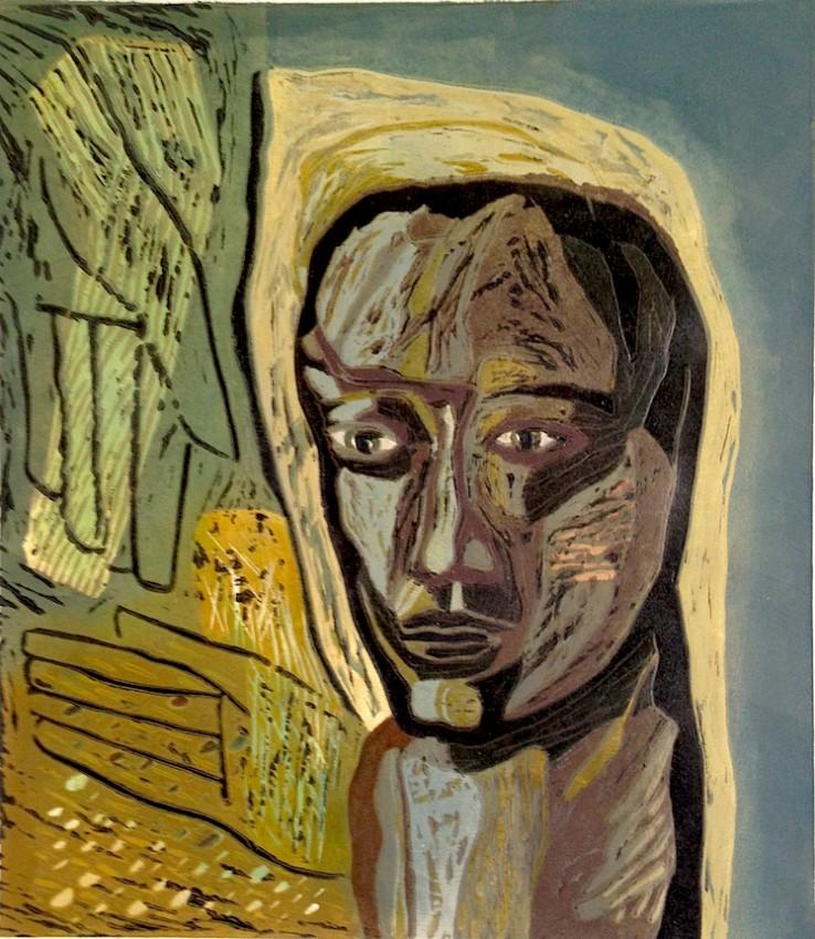 Cabeza de mujer-tierra. Linoleo plancha perdida 2014 33x29