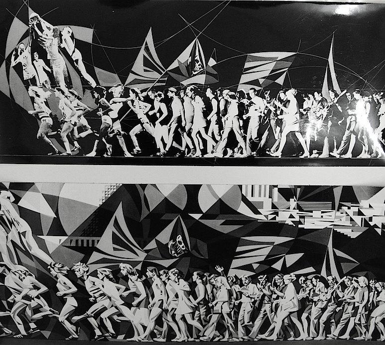 Mural vertical hoy desaparecido en Halle Neustadt. Arriba el fotomontaje con losmodelos. Abajo, el boceto final