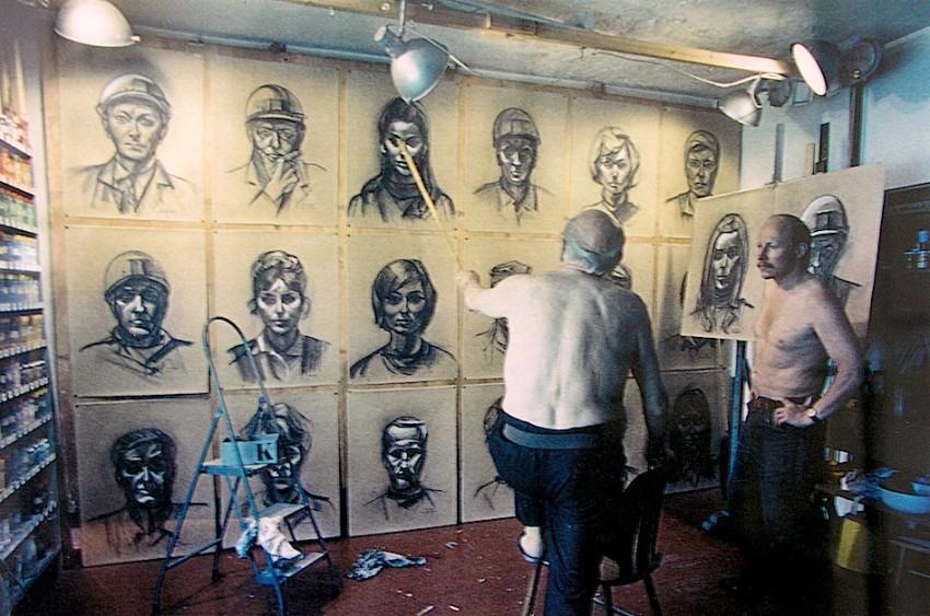 Renau con Ernt Reuter, en la preparación de algún mural. Foto Ernst Reuter