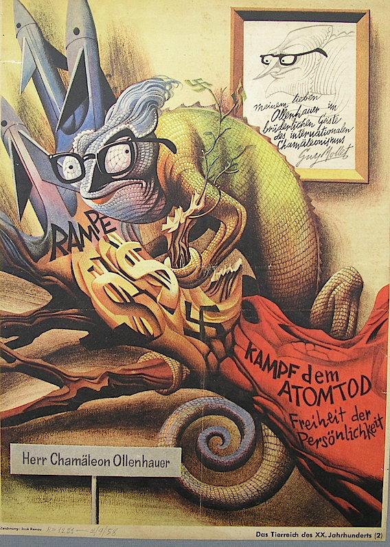 """Caricatura de Adenahuer para Eulenspiegel, de la serie """"El reino animal del siglo XX"""""""