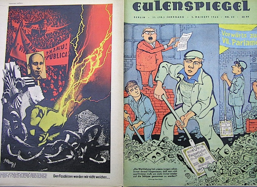 Portada y contraportada de un ejemplar de Eulenspiegel de 1963. Renau también publicaba en él carteles contra el régimen español, en este caso una denuncia por el fusilamiento de