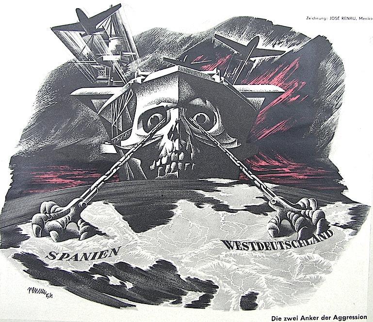 Las dos anclas de la agresión. Dibujo de Renau hecho en México y publicado por Eulenspiegel antes de la llegada del artista a Berlín.