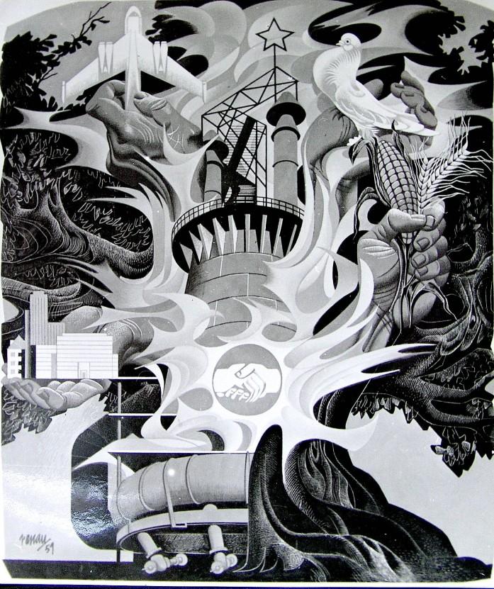 """Fotografía del archivo de la Fundació Josep Renau. No hay constancia que se realizara ningún cartel ni mural. Debía ser un entretenimiento de Renau durante sus """"vacacione forzadas"""" en la televisión alemana"""