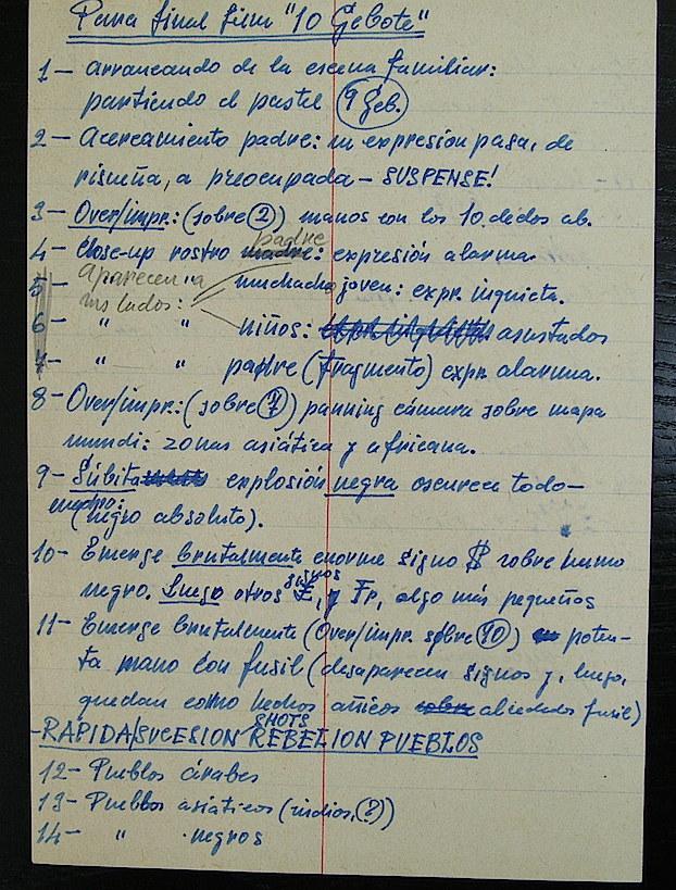 """Apuntes de Renau para la película """"Los Diez Mandamientos"""", que no llegó a realizar. En el hospital tuvo tiempo para registrar en papel miles de ideas. Fundació Josep Renau."""