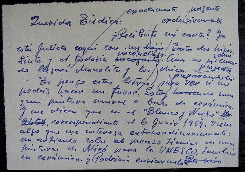 Carta de Renau a su hermana Tildica, solicitando le envíe un ejemplar de la revista Blanco y Negro
