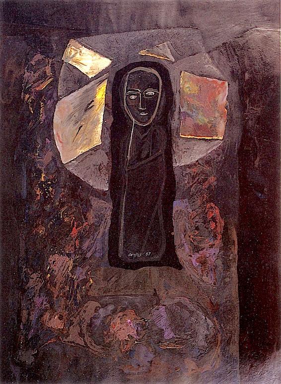 Nuestra Señora de las Rocas. 65x48 Mixta sobre papel