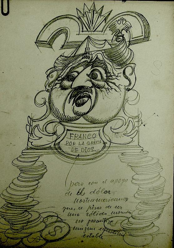 """Caricatura de Franco titulada """"Las columnas del Imperio"""", refiriéndose a los dólares recibidos a cambio de las bases norteamericanas en España."""