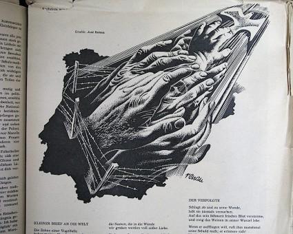 """Renau publicaba sus dibujos políticos en diversos medios de la RDA. Nunca tuvo problema """"formalista"""" con ellos, al contrario de lo que sucedería luego con los murales. Archivo Fundació Josep Renau."""