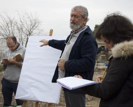 Josep Roselló explicando la fórmula matemática del compostaje