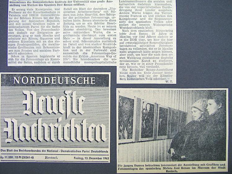 Recorte de prensa sobre la exposición de Renau en Rostock