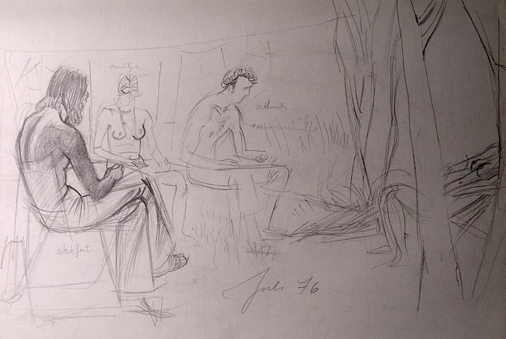 Boceto de Marta Hofmann de una sesión del Circulo de Dibujo en el jardín de Kastanienallee.