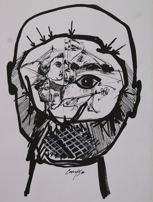 Interior de cabeza. Dibujo en tinta.