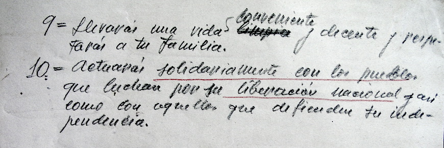 """Textos manuscritos por Renau para la pelicula """"Los Diez Mandamientos"""", del socialismo, a los que el artista se atuvo lo que pudo."""