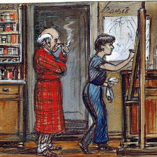 Renau vigilando el trabajo de Marta Hofmann. Dibujo realizado por ella misma.