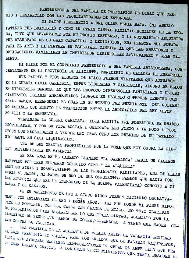 Primera página del manuscrito de Alejandro Renau