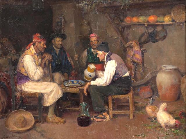 """""""Palique y Trago"""", de José Benlliure. También parece un tópico, pero en una visita a la Huerta de Valencia uno se puede encontrar estampas semejantes en decenas de sitios a la hora del almuerzo"""