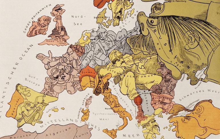 """Ilustración satírica de la Primera Guerra Mundial. Tomada de la página Sapiens.cat """"Cent anys de la Primera Guerra Mundial"""""""