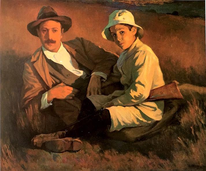 """""""El pintor y su hijo"""", de Carlos Verger, datada en 1912. Uno de los excelentes pìntores españoles de entre siglos que constituían las bestias negras de los estudiantes de la escuela de Bellas Artes de San Carlos. No eran conscientes de a qué maestros se enfrentaban. Catálogo del Museo del Prado."""