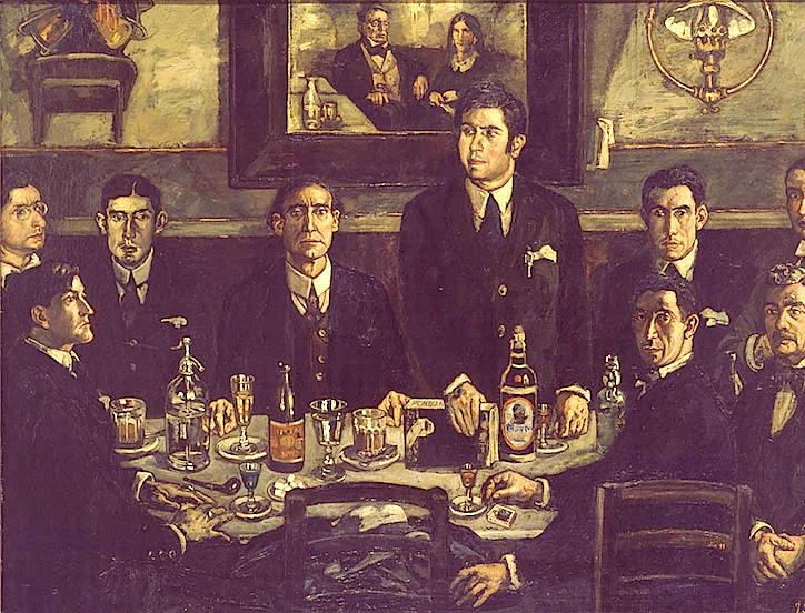 Tertulia del Café Pombo, Gutiérrez Solana. Ilustración tomada de http://luzdearte.blogspot.com.es/