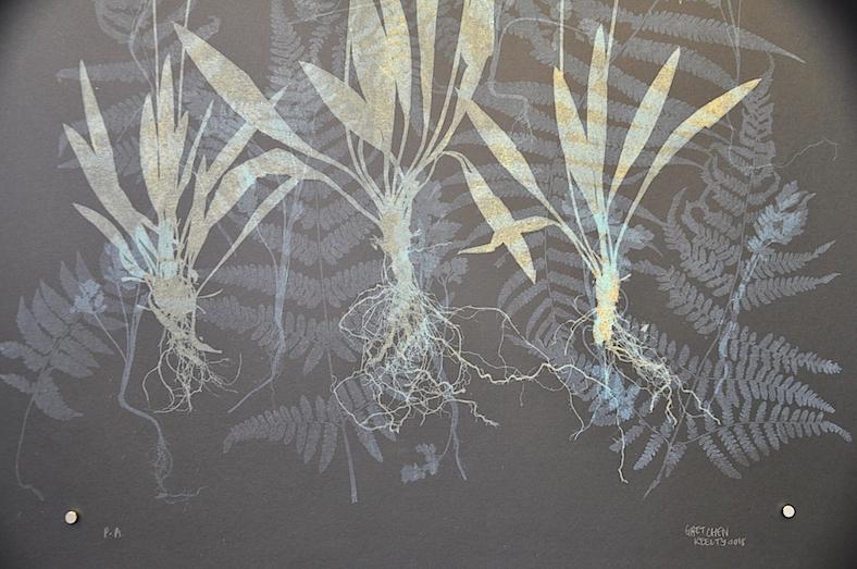 Una interpretación artística de las raíces y las micorrizas. Grabado de Gretchen Keelty