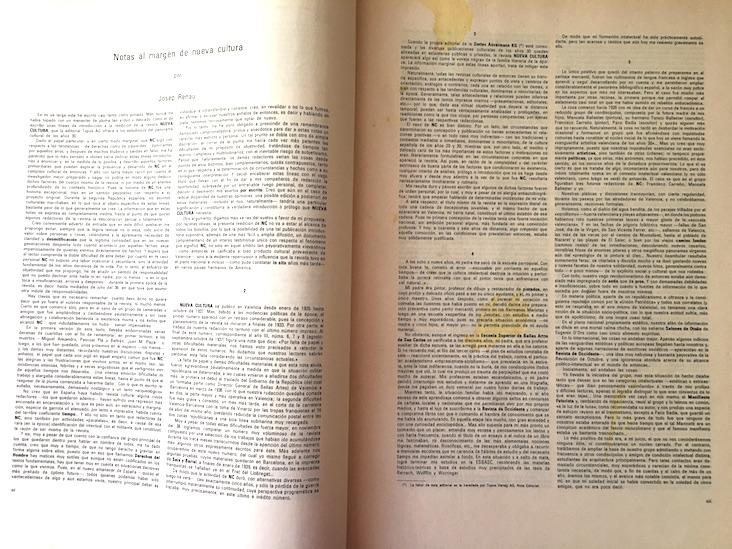 """El prólogo a la edición facsimil de """"Nueva Cultura"""", editada por Topos Verlag, Vaduz, 1977"""