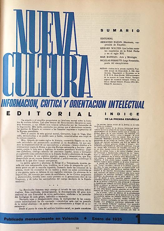 """Primer número de """"Nueva Cultura"""", en enero de 1935."""