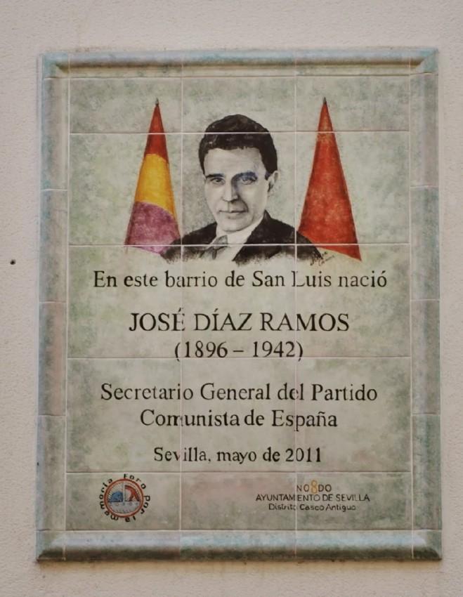 Placa en recuerdo de José Díaz en Sevilla, de donde era nativo.