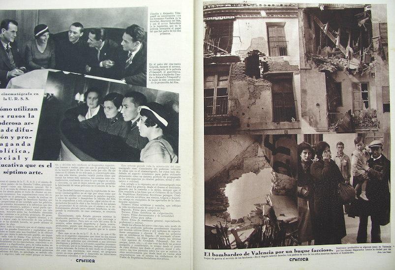 """Dos páginas de la revista """"Crónica"""" en la que se dan cuenta de diversas acciones bélicas, una de ellas en Valencia. Archivo Fundació Renau."""