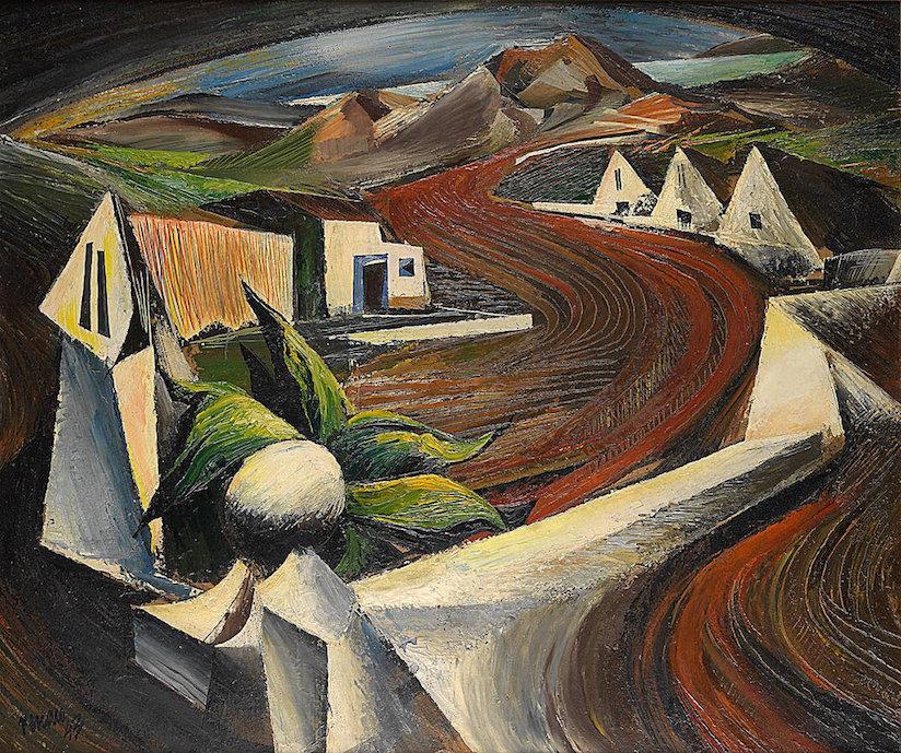 Este paisaje de ecos surrealistas es de la época mexicana de Renau. Pero ilustra el tipo de pintura qe habría terminado haciendo de no haberse producido la sublevación facciosa en 1936.