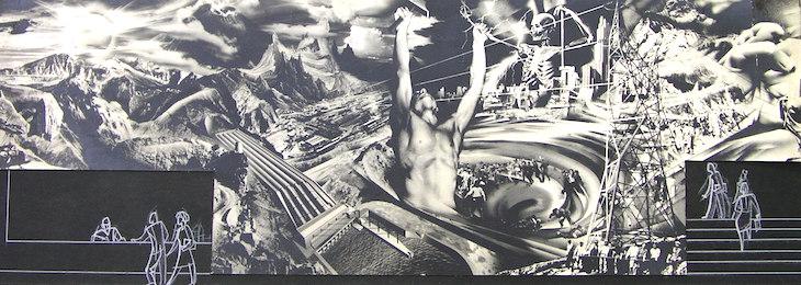 Uno de los primeros bocetos del mural.