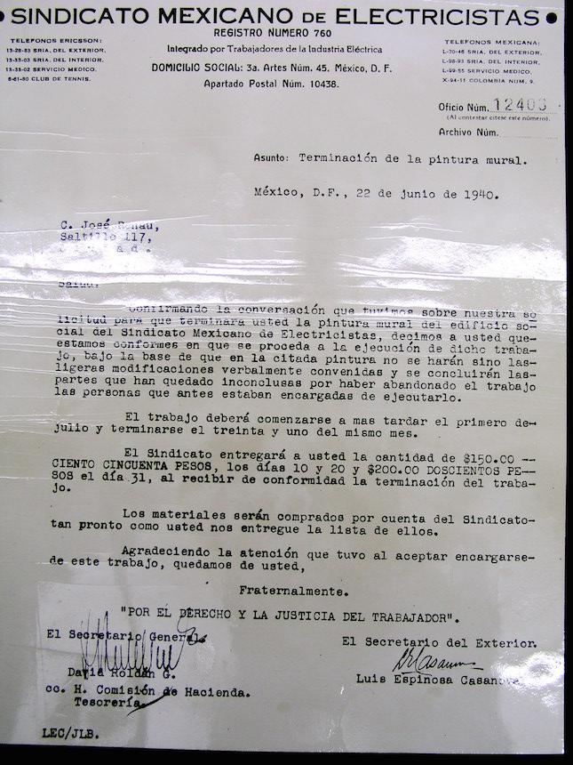 Carta del SME a Renau contratándole para que finalice el mural de la escalera.