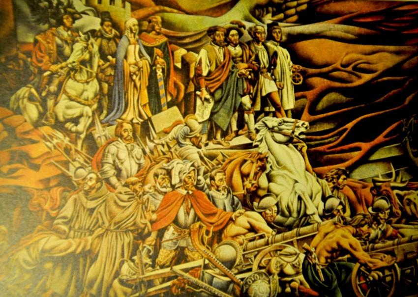 Otro panel del mural. Fotografías tomadas del libro sobre el mural costeado por Alejandro Renau.