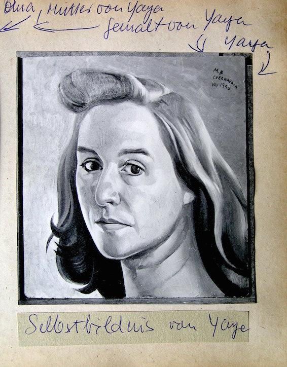 De la colección familiar de Teresa Renau. Señala que es un autorretrato de la yaya, es decir de la abuela de los hijos de Teresa. Está firmado en 1953