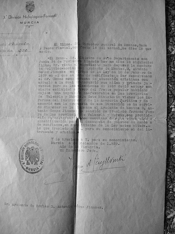 """Documento de la """"depuración"""" de , marido de """"Matilde Renau"""". Nadie de la familia Renau escapo de la humillación de un escrutinio ideológico"""