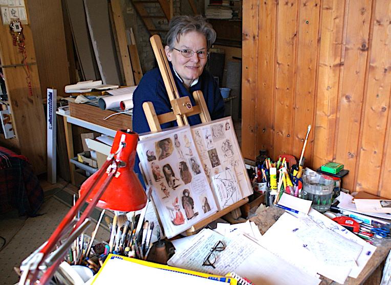 Marta Hofmann en su estudio de Berlín, en 2009
