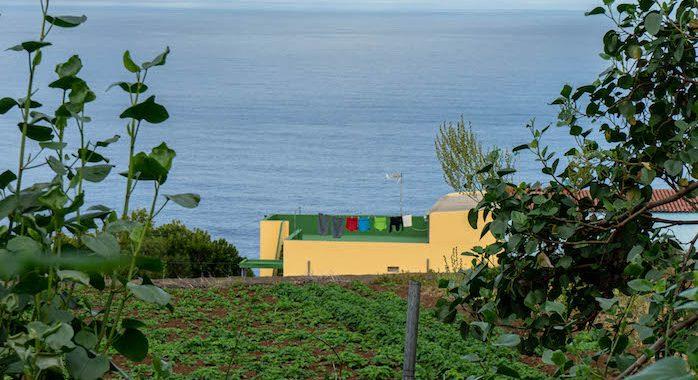 Una terraza con ropa tendida en La Gomera. Y otra terraza cultivada delante.